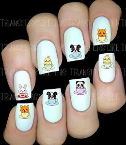 KAWAII-30-Autocollant-Stickers-ongles-nail-art-manucure-water-decal