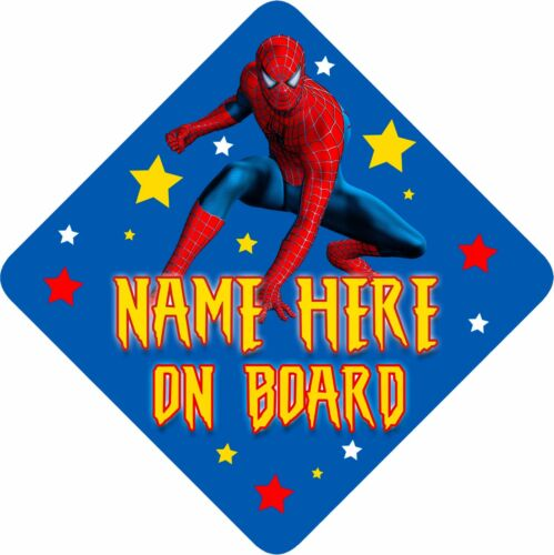 Personnalisé Spiderman Voiture Signe comme Bébé//Enfant à bord bleu clair /& jaune