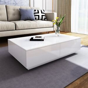 Details About 4 Storage Drawers Coffee Tea Table Cabinet High Gloss Living Room Furniture