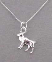 925 Sterling Silver Caribou Elk Pendant Necklace Jewelry