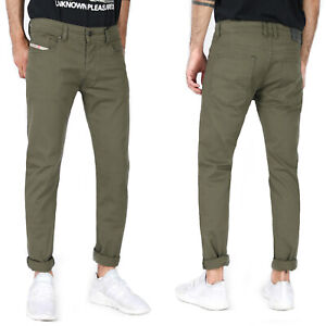 Diesel Para Hombre Pantalones Jeans Ajustados Slim Fit Stretch Verde Oliva Troxer 0 Nahc Ebay