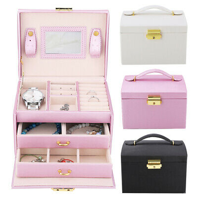 Girls Large 2 Drawer Jewellery Box PU Leather Finish Ornaments Storage Organize