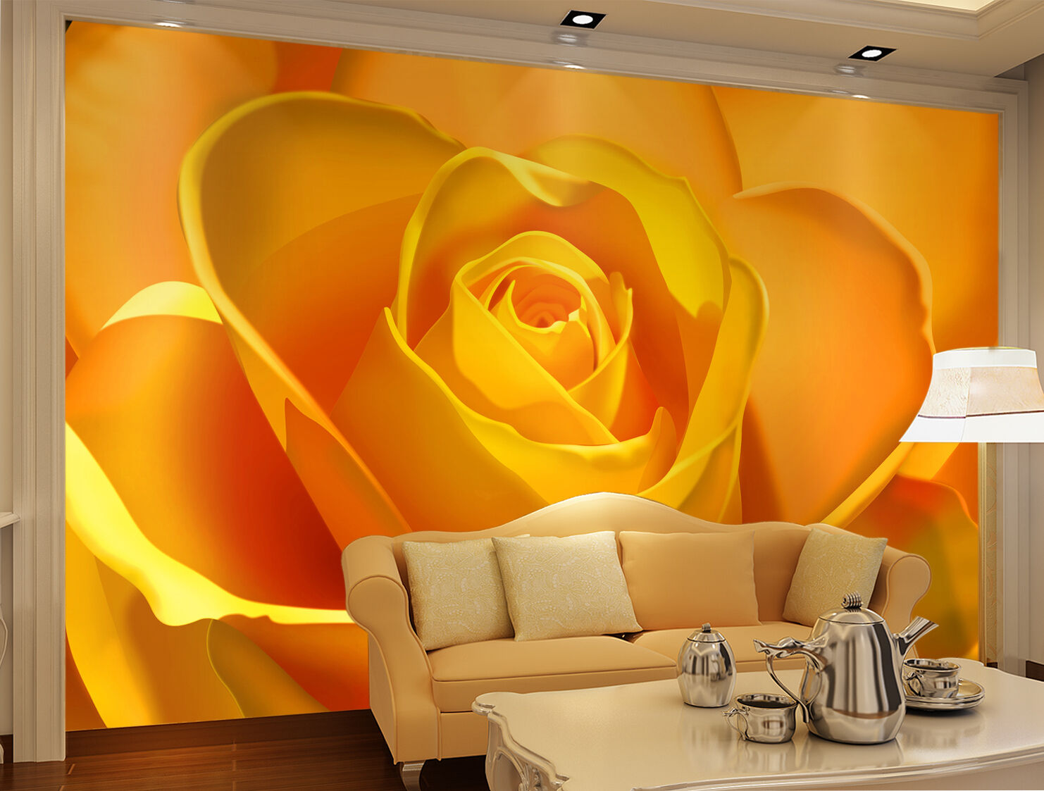 3D Gelb Flowers 873 Wallpaper Mural Paper Wall Print Wallpaper Murals UK