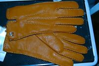 Etienne Aigner Caramel Brown Lady Leather Gloves Medium Cashmere Lined Tags