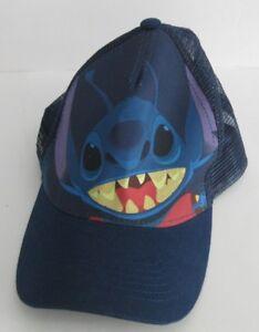 Disney-Lilo-amp-Stitch-Snap-Back-Hat-Navy-Blue-Alien-Unisex-Adultl-One-Size