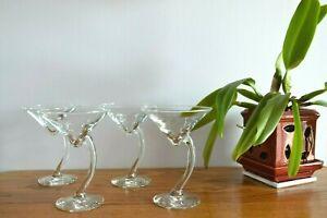 "Set Of 4 Curved Stem Mid Century Retro Martini Cocktail Glasses Bar Ware ~ 6.5"""
