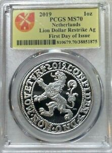 2019-PCGS-MS70-Netherlands-1-oz-Silver-Lion-Dollar-RARE-1st-DAY-ISSUE
