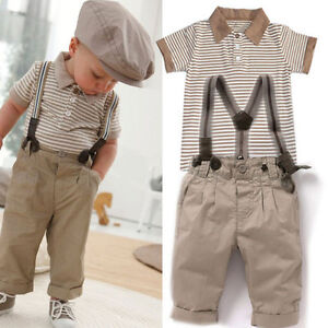 jungen kinder baby gestreift t shirt top hose mit hosentr ger smoking anzug set ebay. Black Bedroom Furniture Sets. Home Design Ideas