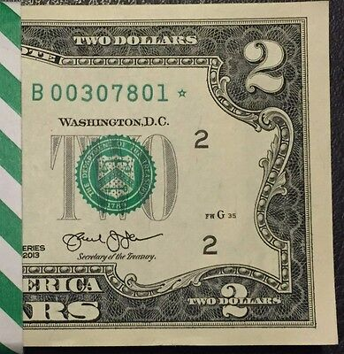 STAR NOTE $1 Dollar Bill 2013 1 New York consecutive uncirculated Low S