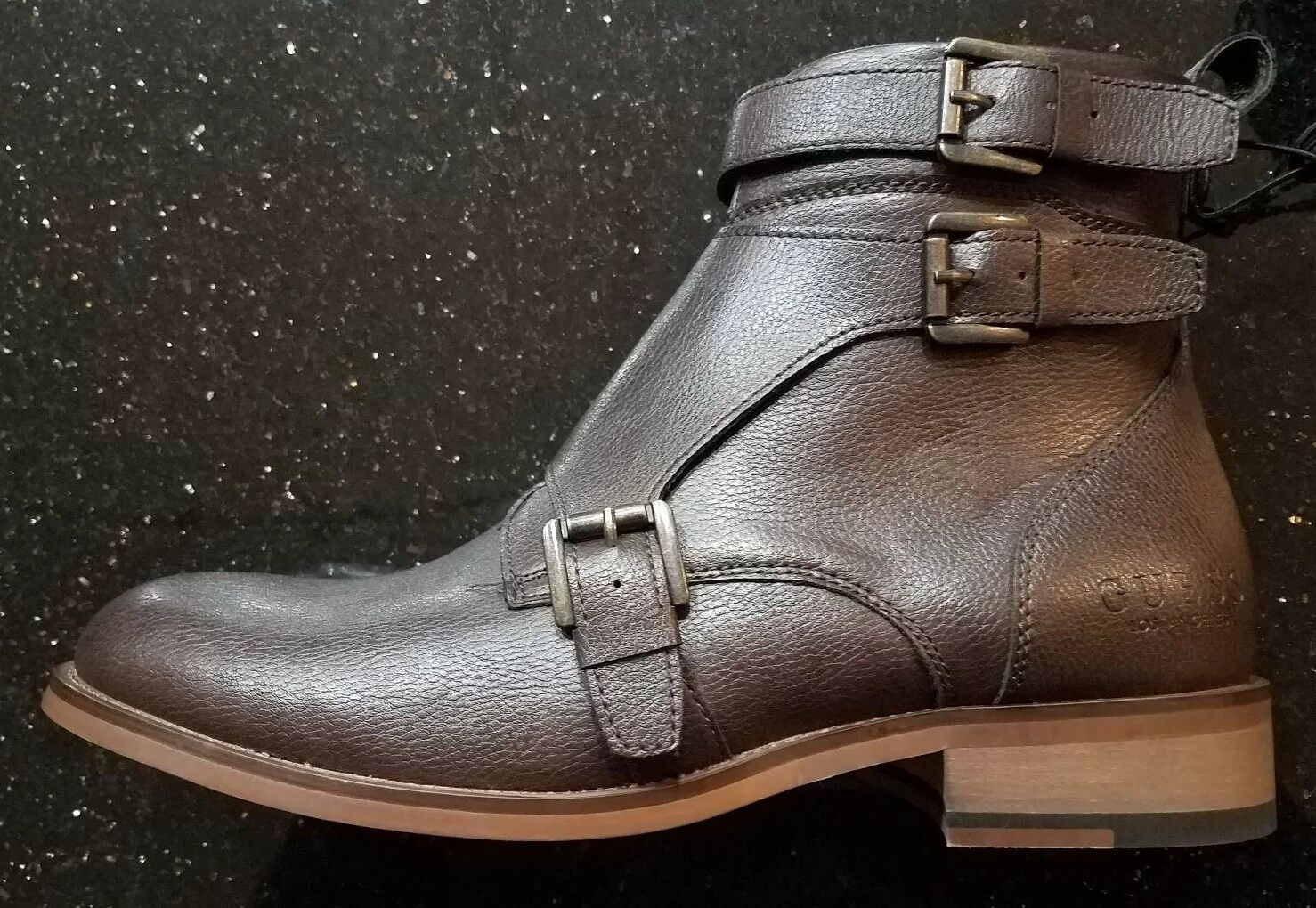 GUESS MENS GM RAVISH-R BOOTS ZIPPER & BUCKLE SIZE 8.5M BROWN LEATHER LOS ANGELES