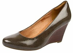 Image is loading CLARKS-LADIES-ELSA-PURITY-WEDGE-COURT-SHOES-SIZE-