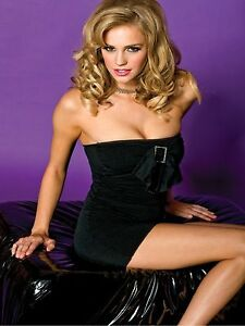 Sexy-Black-Strapless-Tube-Mini-Dress-Buckle-Bow-Detail-Music-Legs-One-Size-6799