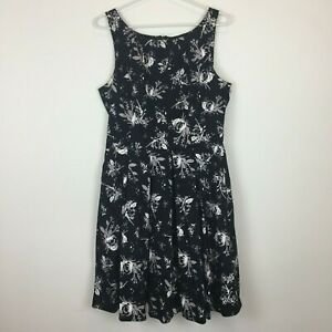 Jacqui-E-Womens-Black-with-White-Grey-Flowers-Sleeveless-Pockets-Dress-Size-10