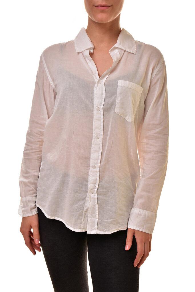 Sundry Damen Basic Classic Semi Sheer Baumwollhemd Weiß M UVP   155 BCF810