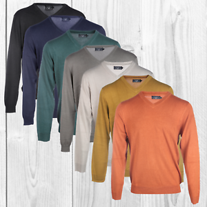 Blu-Cherry-Men-039-s-V-Neck-Long-Sleeved-Pullover-Jumpers-Sweater