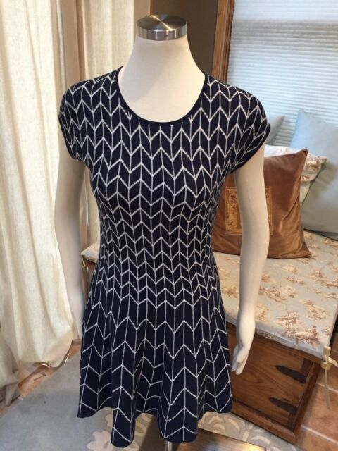 407c7857a88 NEW Max Studio Navy Blue White Mod Geometric Fit Flare Sweater Dress ...
