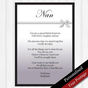 Image Is Loading Nan Gift Personalised Birthday For Nanny Keepsake