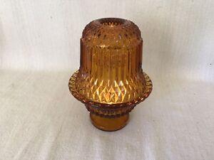 Vtg-Indiana-Glass-AMBER-DIAMOND-POINT-FAIRY-LAMP-TIARA-Candle-Holder-Light-6-5-034