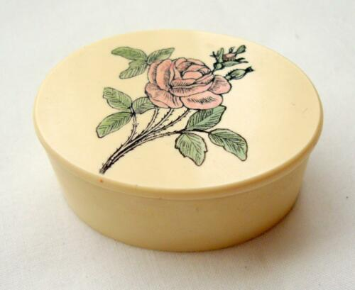"Sweet Miniature Barlow Victorian Rose Oval Box, 1.5"" L Pink Rose & Green Leaves"