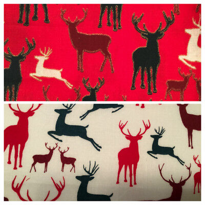 SALE Christmas Fabric Per Metre Fat Quarters Gold Festive Advent Mistletoe Noel