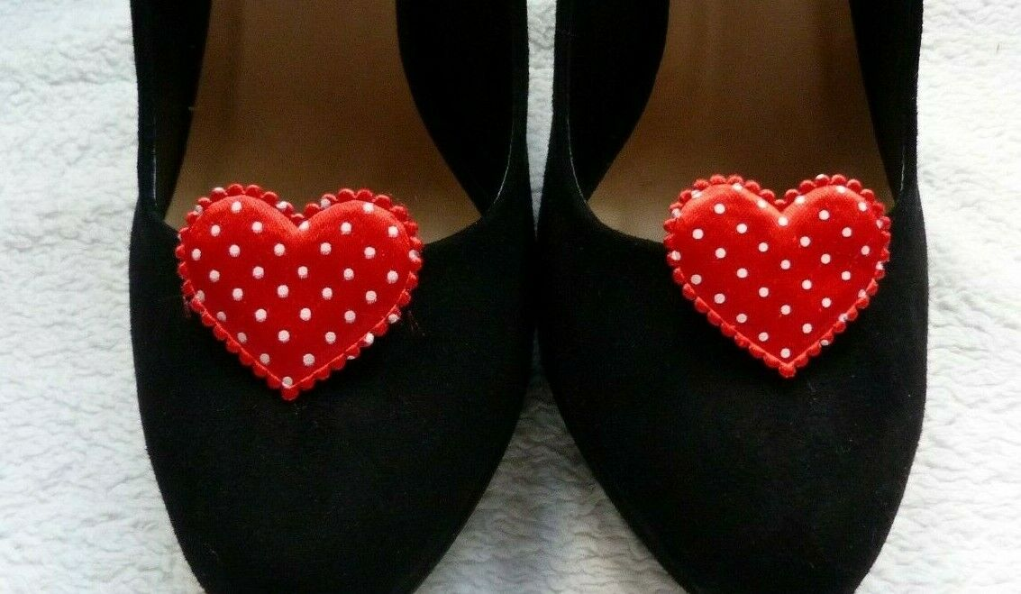 Red Polka Dot Queen of Hearts Shoe Clips - Queen of Hearts Fancy Dress