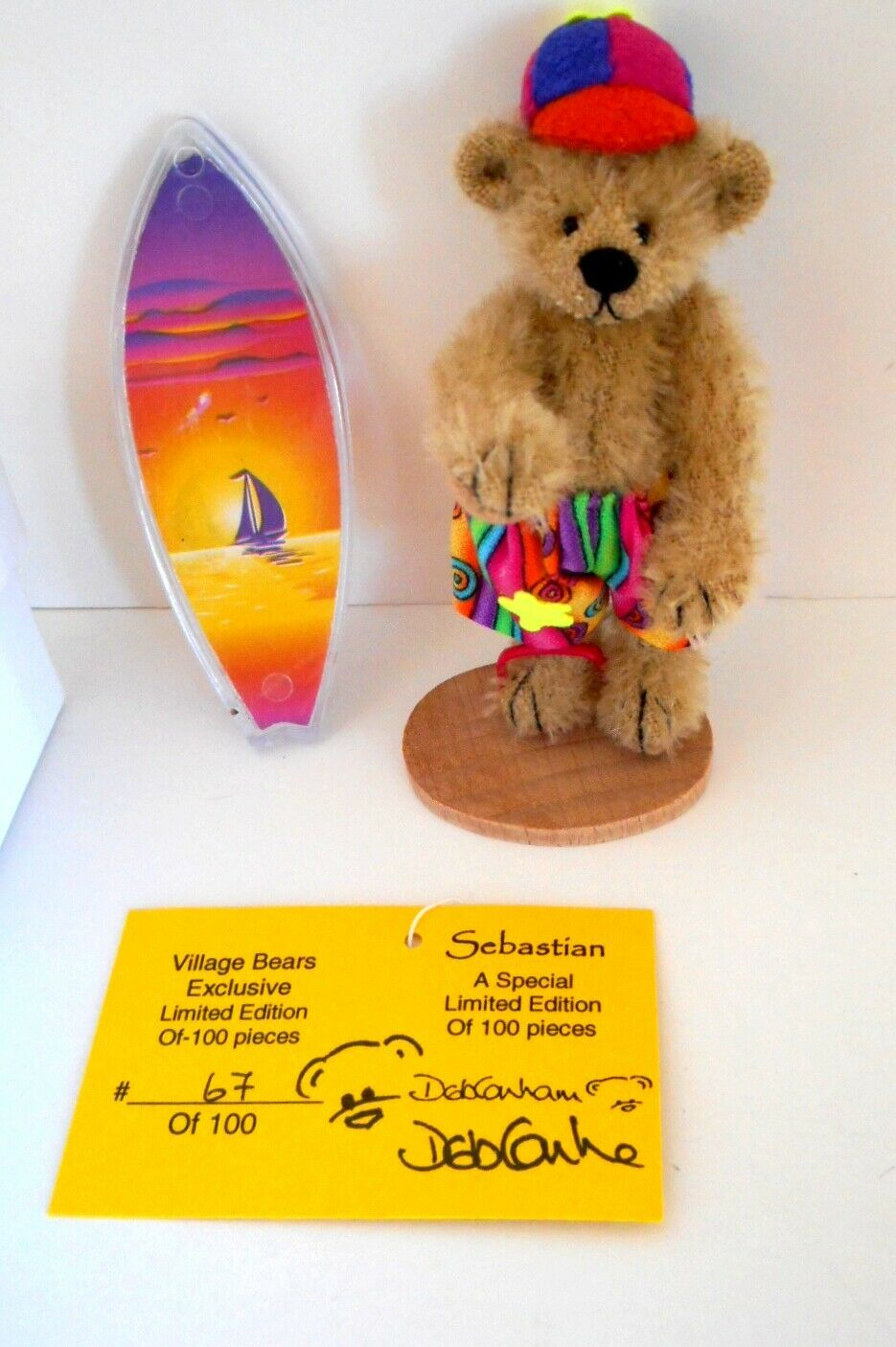 DEB CANHAM Sebastian Surfer Bear Ltd. Ed. From Village Bears 67 100 MIB 2003