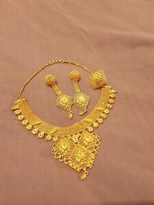 Indian Arabic African necklace set 2 gram gold plated eBay