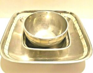 Vintage-Mother-of-Pearl-Inlay-Square-Tray-Towle-Silversmiths-3-Piece-Set-Bowls