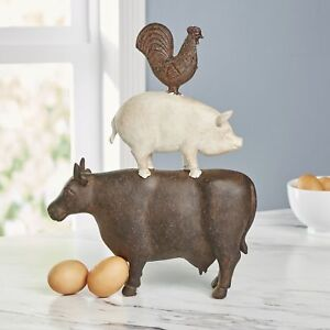 The Lakeside Collection Stacked Farm Animal Sculpture Decorative Cow Pig Rooster Rustic Brown