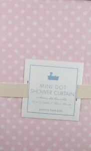 Pottery Barn Kids Pink White Mini Polka Dot Fabric Cotton Shower Curtain New