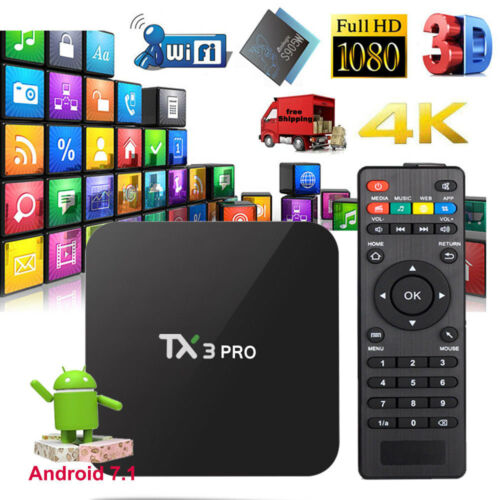 TX3 PRO Android 7.1 TV Box S905W Quad-core 1G+8G H.265 DLNA WiFi HD Media Player