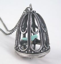 New Victorian Style Bird Cage Necklace With Blue Canary #N2039