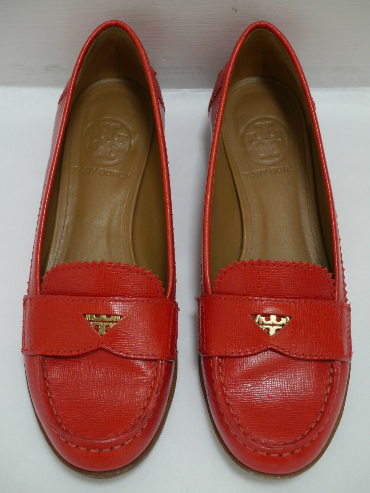 TORY BURCH $250 Pennie Penny Loafer Loafer Penny red saffiano leather shoes size 5.5 1c870b