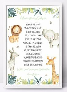 Godmother Personalised Godparents Thank You Poem Gift Print A4 Godfather