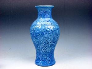 Monocromo-Azul-Brillante-Porcelana-Florero-de-Flor-Blossoms-Tallado-en-Alivio