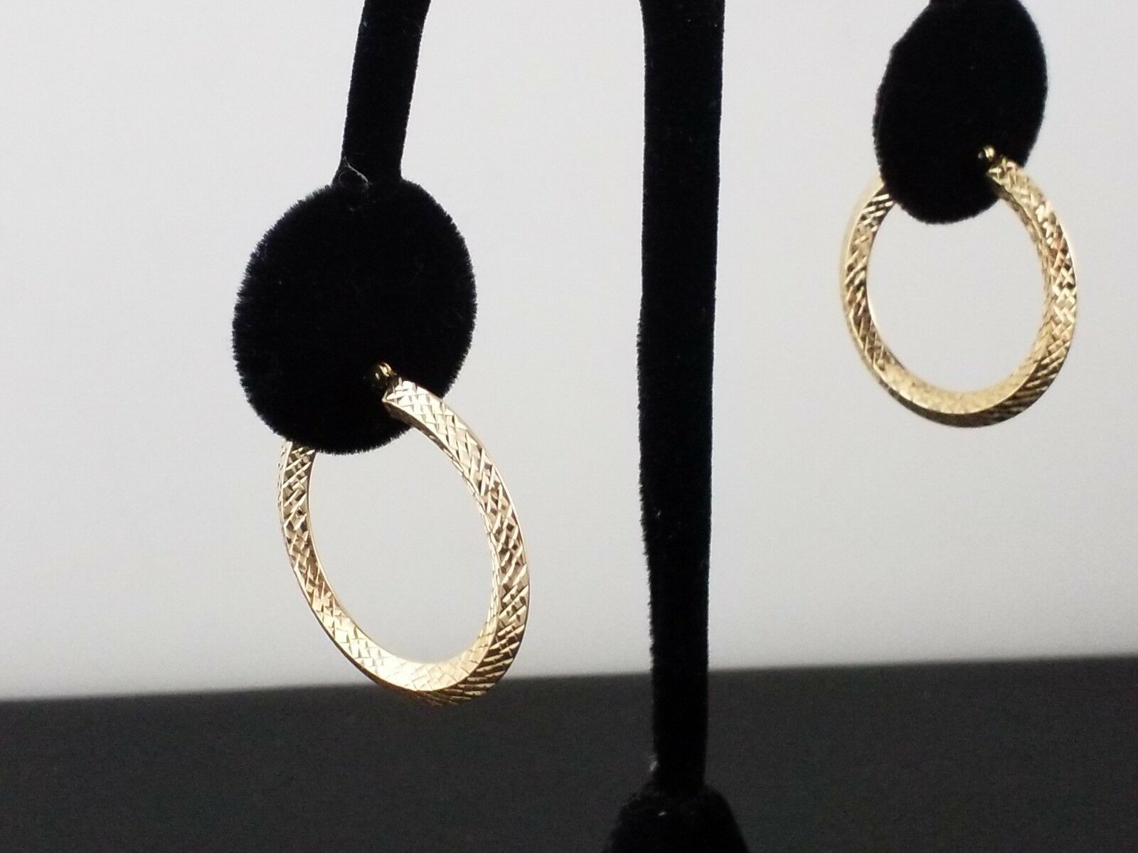 1 1 4 inch Hoop earrings, 14k yellow gold with cross etched pattern
