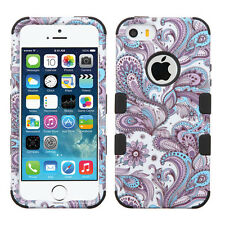 Apple iPhone 5 5S SE IMPACT TUFF HYBRID Case Skin Cover Purple European Black