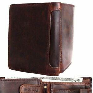 Men-039-s-Leather-handmade-Wallet-Credit-Cards-Slots-id-Windows-oiled-coin-Closure