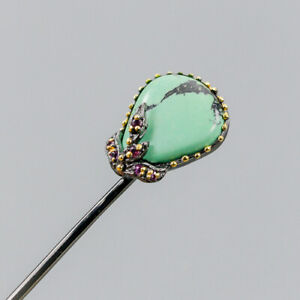 Vintage-Natural-Turquoise-925-Sterling-Silver-Brooch-NB07510