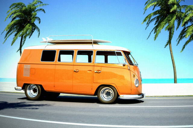 VW Camper Van Orange Beach WALL ART CANVAS FRAMED OR POSTER PRINT