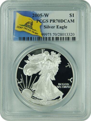 2005-W PCGS PR70DCAM Silver Eagle Dont Tread On Me Label