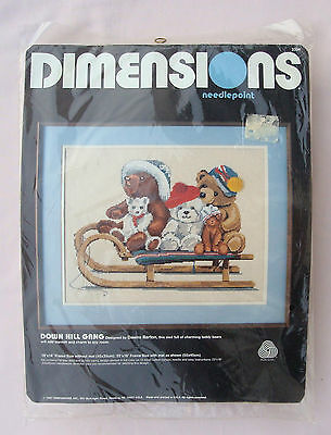 Dimensions DOWN HILL GANG Bears Needlepoint Kit by Dawn Barton - FACTORY SEALED