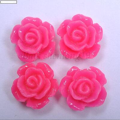 frss ship 20/100pcs Resin Flower Flatback Cabochons Charms Beads 10colors U PICK