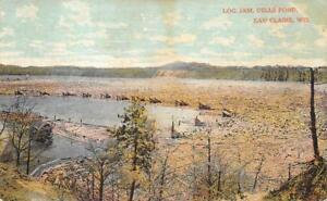 Old Postcard 1911 Eau Claire Wis Log Jam Dells Pond   eBay