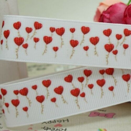RUBAN GROS GRAIN ** 22 mm ** Envolée de Ballon Forme Coeur vendu au mètre
