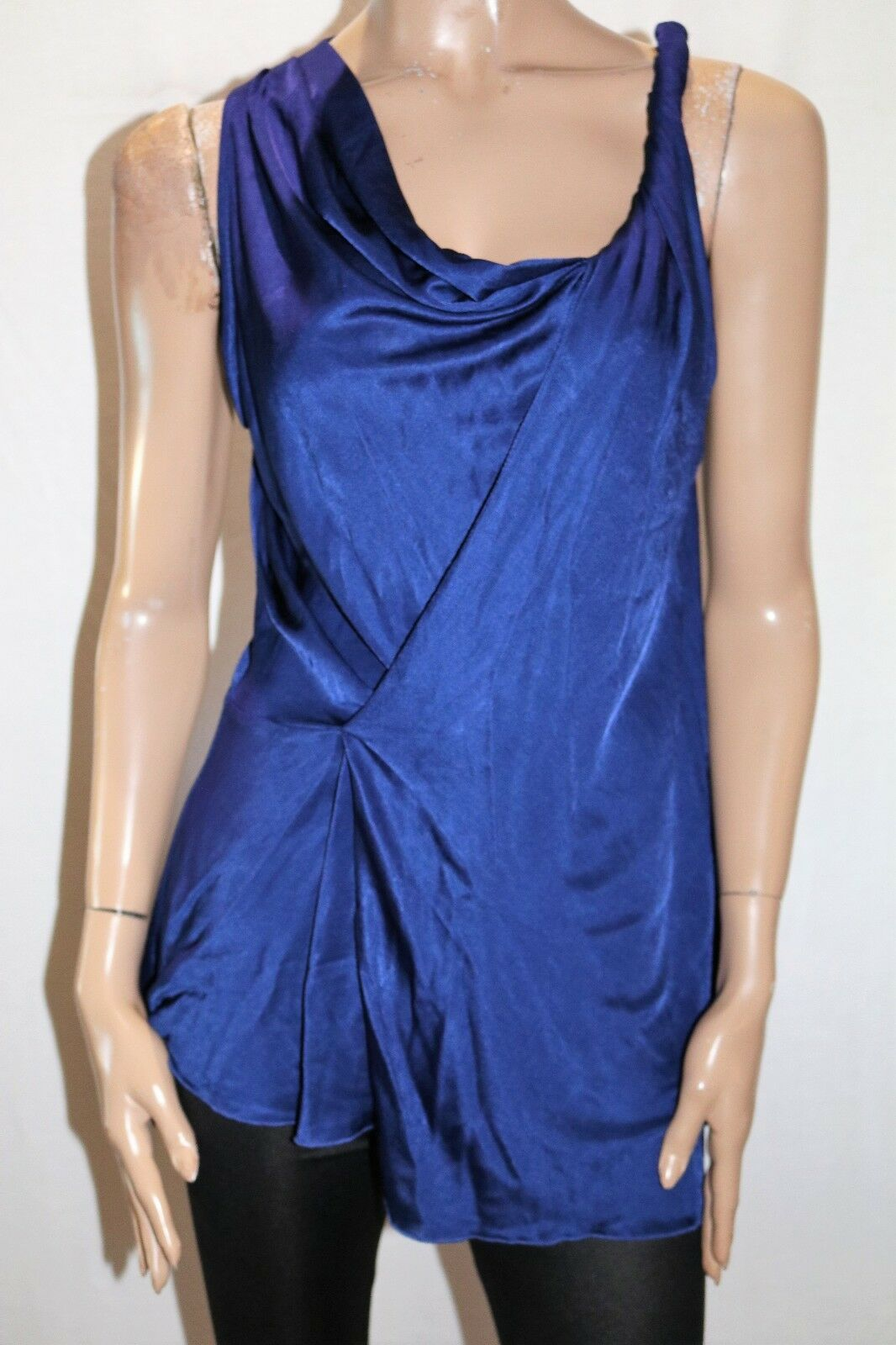 David Lawrence Brand bluee Twisted Shoulder Sleeveless Top Size M BNWT  TL38