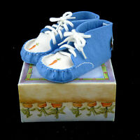 402 Bunnies By The Bay Baby Crib Shoes Booties Blue White Carrot Boots 2