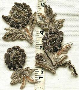 Vintage Applique  Embroidered Soutache Beading Hand Sewn 3pc Set Mocha Brown