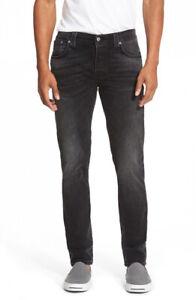 Nudie-Herren-Slim-Fit-Stretch-Jeans-Hose-Grim-Tim-Black-Haze-Schwarz-Grau