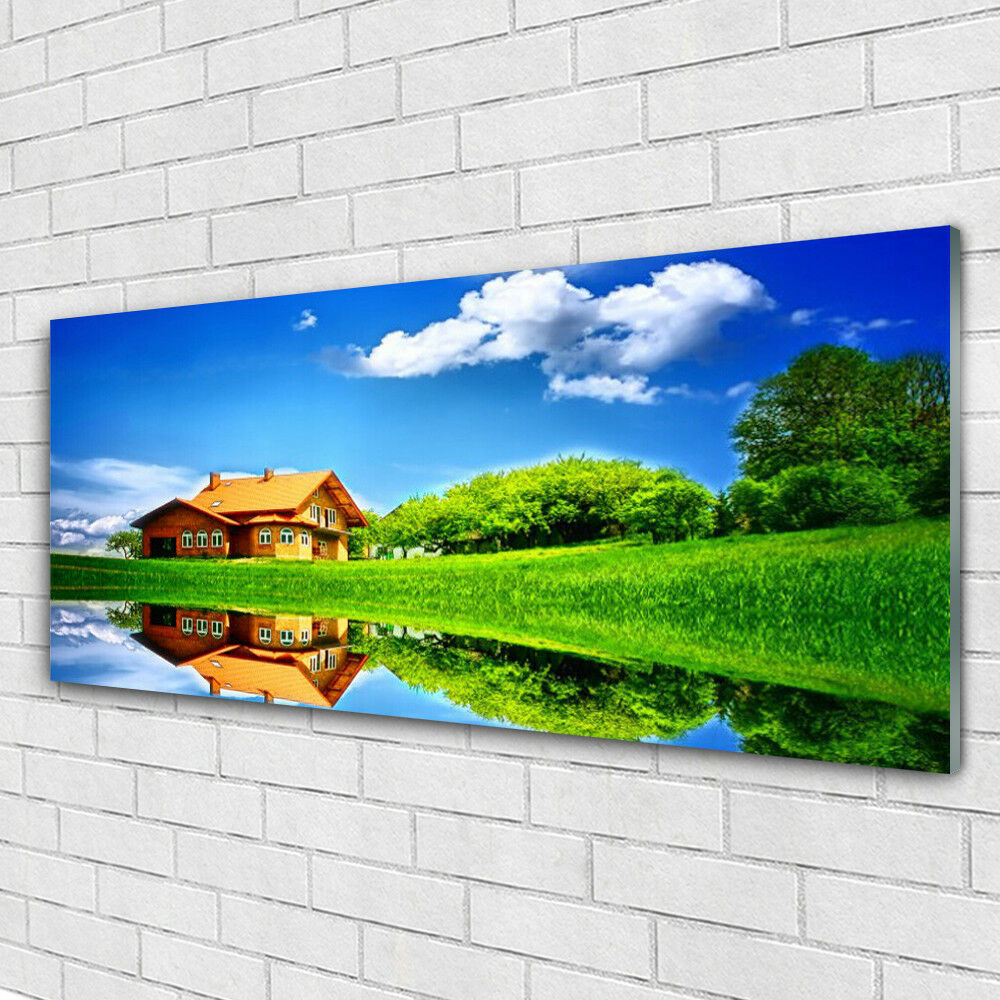 Verre Imprimer Wall Art Image 125x50 Photo Maison Lac Herbe Nature